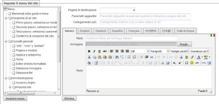 Imposta menu: fai clic per ingrandire l'immagine