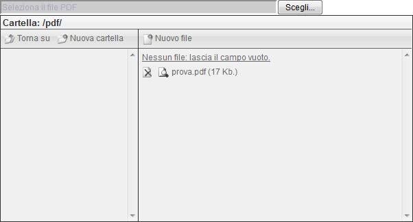 Web Portal Now: seleziona file